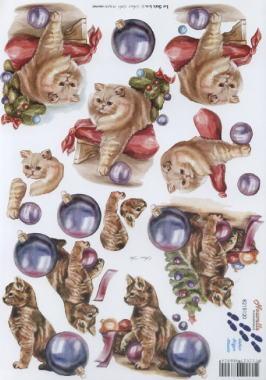 3D Bogen 2x Weihnachts Katzen - Format A4