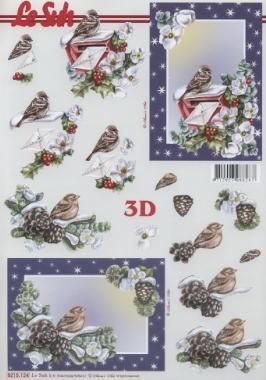 3D Bogen / Winter,  Tiere - Vögel,  Winter,  Winter,  3D Bogen,  Vögel,  Brief