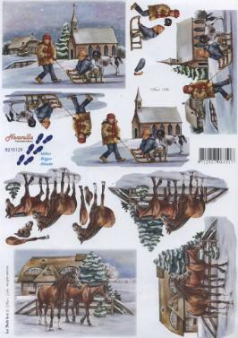 3D Bogen Kinder mit Schlitten+Pferde - Format A4