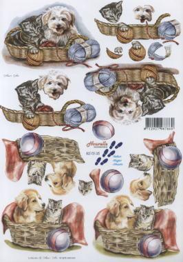 3D Bogen Hund+Katze im Körbchen - Format A4,  Tiere - Hunde,  Le Suh,  3D Bogen,  Hunde