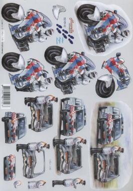 3D Bogen Polizei Auto+Motorrad - Format A4