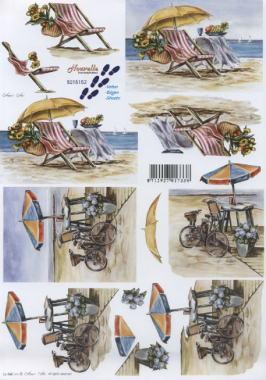 3D Bogen Urlaub am Strand - Format A4, Regionen - Strand / Meer,  Fahrzeuge - Fahrräder,  Le Suh,  Sommer,  3D Bogen,  Strand,  Liegestuhl