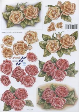 3D Bogen 2x Rosen gelb/rosa - Format A4,  Blumen - Rosen,  Le Suh,  Sommer,  3D Bogen,  Rosen