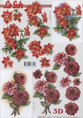 3D Bogen Dahlien - Format A4,  Blumen - Dahlien,  Le Suh,  Sommer,  3D Bogen,  Dahlien