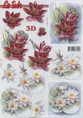 3D Bogen Seerosen  - Format A4,  Blumen - Seerosen,  Le Suh,  3D Bogen,  Seerosen