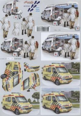 3D Bogen Krankenwagen - Format A4, Menschen - Personen,  Fahrzeuge - Autos,  Le Suh,  3D Bogen,  Personen,  Krankenwagen