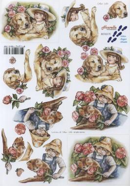 3D Bogen Kind mit Hund - Format A4, Menschen - Personen,  Blumen -  Sonstige,  Le Suh,  3D Bogen,  Hunde,  Rosen,  Kinder