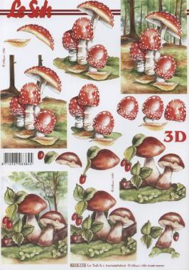 3D Bogen Pilze - Format A4,  Früchte - Pilze,  Le Suh,  Herbst,  3D Bogen,  Pilze