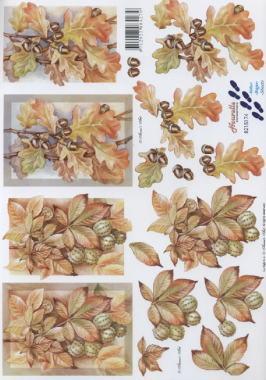 3D Bogen Kastanien+Eicheln - Format A4,  Herbst - Blätter / Laub,  Le Suh,  Herbst,  3D Bogen,  Laub,  Blätter