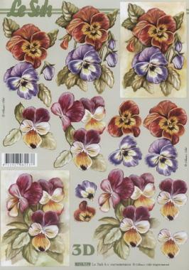 3D Bogen Stiefmütterchen - Format A4,  Blumen - Stiefmütterchen,  Le Suh,  Frühjahr,  3D Bogen,  Stiefmütterchen