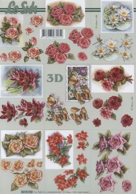 3D Bogen Blumen klein - Format A4, Blumen - Seerosen,  Blumen - Rosen,  Le Suh,  Sommer,  3D Bogen,  Rosen,  Seerosen