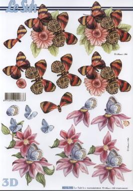 3D Bogen Blumen+Schmetterlinge - Format A4, Tiere - Schmetterlinge,  Blumen -  Sonstige,  Le Suh,  Sommer,  3D Bogen,  Schmetterlinge,  Blumen