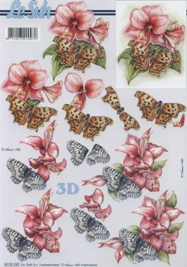 3D Bogen Schmetterlinge+Blumen - Format A4, Tiere - Schmetterlinge,  Blumen -  Sonstige,  Le Suh,  Sommer,  3D Bogen,  Hibiskus,  Schmetterlinge