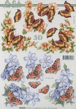 3D Bogen Schmetterlinge+Blumen - Format A4, Blumen -  Sonstige,  Tiere - Schmetterlinge,  Le Suh,  Sommer,  3D Bogen,  Blumen,  Schmetterlinge