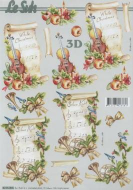 3D Bogen Geige+Notenblatt - Format A4, Sonstiges - Musik,  Früchte - Äpfel,  Le Suh,  3D Bogen,  Geige,  Äpfel,  Musik