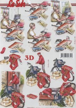 3D Bogen Telefonistin+Kurier - Format A4,  Menschen - Personen,  Le Suh,  3D Bogen,  Beruf,  Briefträger,  Sekretärin