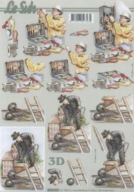 3D Bogen Elektriker+Schornsteinfeger - Format A4,  Sonstiges -  Sonstiges,  Le Suh,  3D Bogen,  Beruf,  Schornsteinfeger,  Elektriker