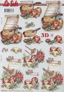 3D Bogen  - Format A4, Sonstiges - Musik,  Früchte - Äpfel,  Le Suh,  Herbst,  3D Bogen,  Musik,  Instrumente,  Äpfel