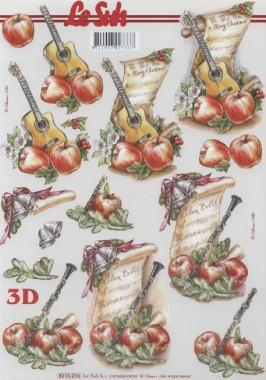 3D Bogen Gitarre+Klarinette+Noten - Format A4, Sonstiges - Musik,  Früchte - Äpfel,  Le Suh,  3D Bogen,  Äpfel,  Musik