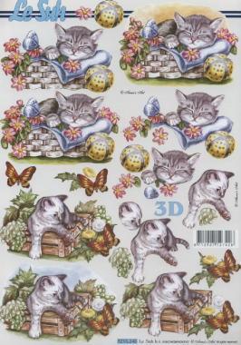 3D Bogen Katzen im Körbchen - Format A4,  Tiere - Katzen,  Le Suh,  Sommer,  3D Bogen,  Katzen