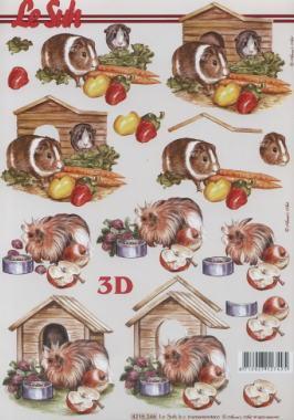 3D Bogen Meerschweinchen - Format A4,  Tiere -  Sonstige,  Le Suh,  Sommer,  3D Bogen,  Meerschweinchen
