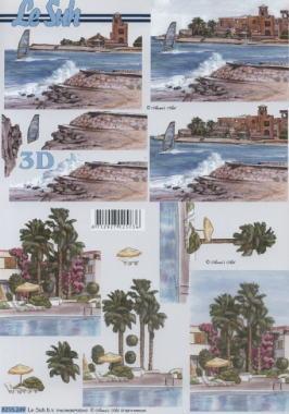 3D Bogen Strand und Meer - Format A4,  Regionen - Strand / Meer,  Le Suh,  Sommer,  3D Bogen,  Urlaub,  Strand,  surfen