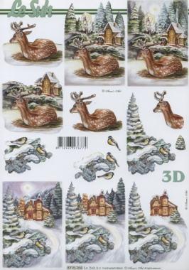 3D Bogen / Reh - Hirsch,  Tiere - Reh / Hirsch,  Le Suh,  Winter,  3D Bogen,  Hirsch,  Winterlandschaft