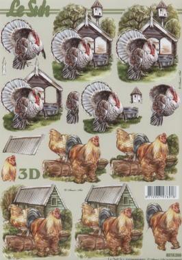 Nouvelle,  Tiere - Huhn / Hahn,  Le Suh,  Sommer,  3D Bogen,  Hahn,  Pute