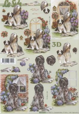 3D Bogen Hunde im Garten - Format A4,  Tiere - Hunde,  Le Suh,  3D Bogen,  Hunde