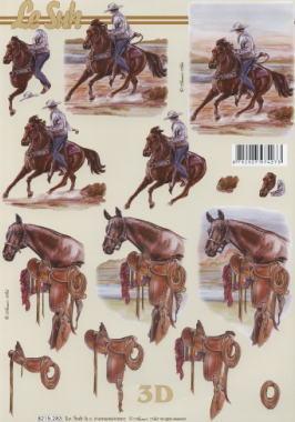 3D Bogen / Art,  Tiere - Pferde,  Le Suh,  3D Bogen,  Pferde,  Cowboy