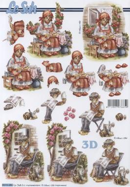 3D Bogen Oma+Opa - Format A4,  Menschen - Personen,  Le Suh,  Herbst,  3D Bogen
