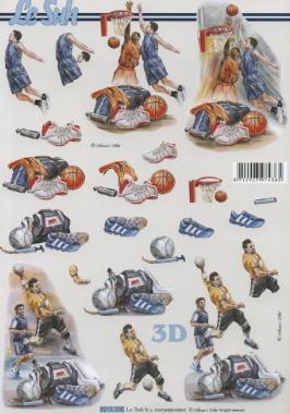3D Bogen Fussball+Basketball - Format A4,  Sport - Fußball,  Le Suh,  Sommer,  3D Bogen,  Fußball,  Basketball