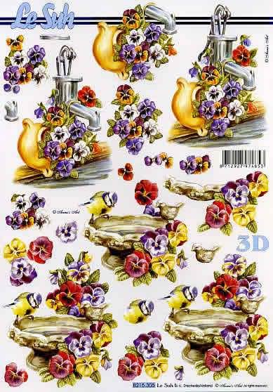 3D Bogen Vogel+Tränke+ Blumen - Format A4, Tiere - Vögel,  Blumen - Stiefmütterchen,  Le Suh,  3D Bogen,  Vögel,  Blumen