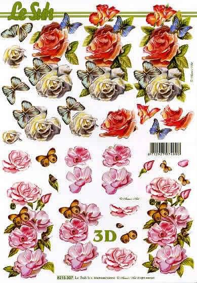 3D Bogen  - Format A4, Tiere - Schmetterlinge,  Blumen - Rosen,  Le Suh,  Sommer,  3D Bogen,  Schmetterlinge,  Rosen