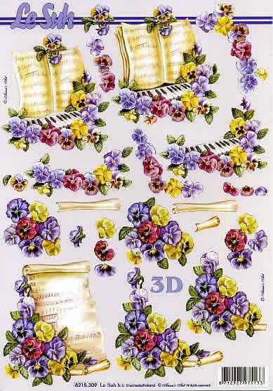 3D Bogen Blumen+Notenblatt - Format A4, Sonstiges - Musik,  Blumen - Stiefmütterchen,  Le Suh,  Frühjahr,  3D Bogen,  Stiefmütterchen,  Musik