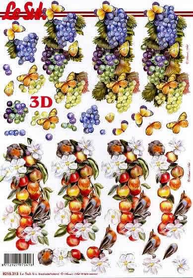 3D Bogen Weintrauben+Äpfel - Format A4, Früchte - Äpfel,  Früchte - Weintrauben,  Le Suh,  Sommer,  3D Bogen,  Weintrauben,  Äpfel