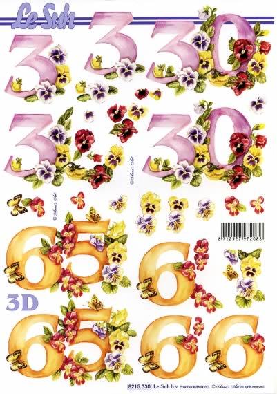 3D Bogen  - Format A4,  Blumen - Stiefmütterchen,  Le Suh,  3D Bogen,  Zahlen,  Stiefmütterchen