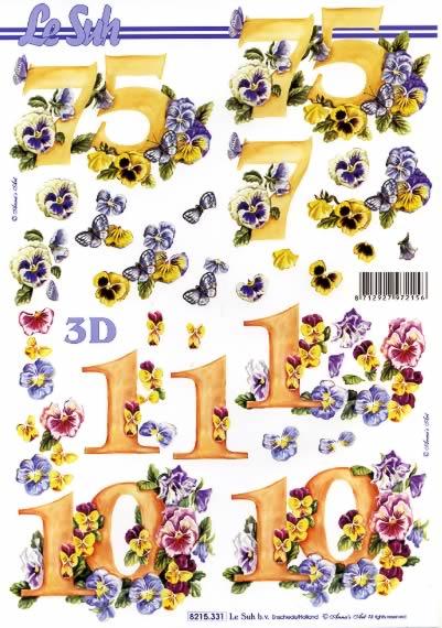 3D Bogen  - Format A4,  Blumen -  Sonstige,  Le Suh,  3D Bogen,  Veilchen,  Jubiläum,  Zahlen