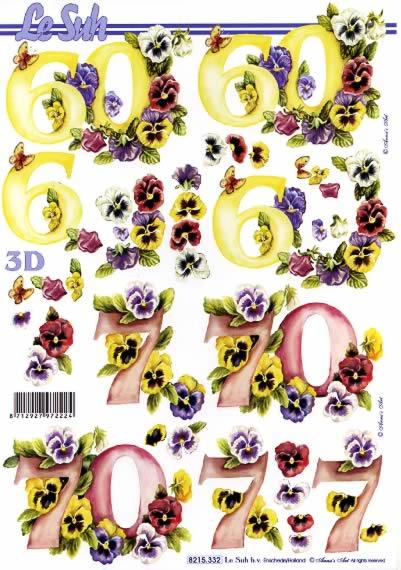 3D Bogen 60+70 Jubiläum - Format A4,  Blumen - Stiefmütterchen,  Le Suh,  3D Bogen,  Zahlen,  Stiefmütterchen
