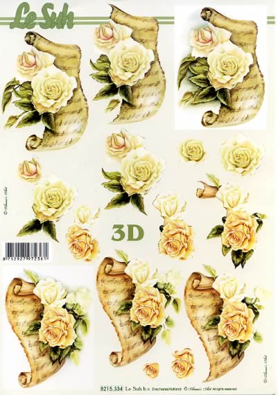 3D Bogen Jubiläum Weisse Rose - Format A4,  Blumen -  Sonstige,  Le Suh,  3D Bogen,  Rosen an Brief