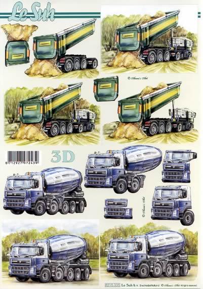 3D Bogen  - Format A4,  Fahrzeuge -  Sonstige,  Le Suh,  3D Bogen,  Lastwagen