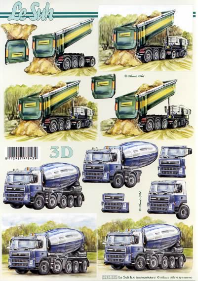 3D Bogen LKW´s - Format A4,  Fahrzeuge -  Sonstige,  Le Suh,  3D Bogen,  Lastwagen