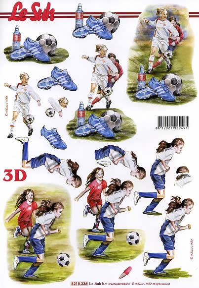 3D Bogen Mädchen Fussball - Format A4, Menschen - Personen,  Sport - Fußball,  Le Suh,  3D Bogen,  Personen,  Fussball