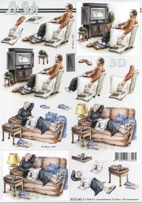 3D Bogen Vorruhestand - Format A4,  Ereignisse -  Sonstige,  Le Suh,  3D Bogen,  Ruhestand,  Frau auf dem Sofa,  Mann im Sessel vor dem Fernsehr