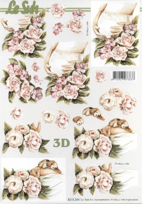 3D Bogen  - Format A4,  Ereignisse - Geburt,  Le Suh,  3D Bogen,  Schwangerschaft,  Babybauch,  Rosen