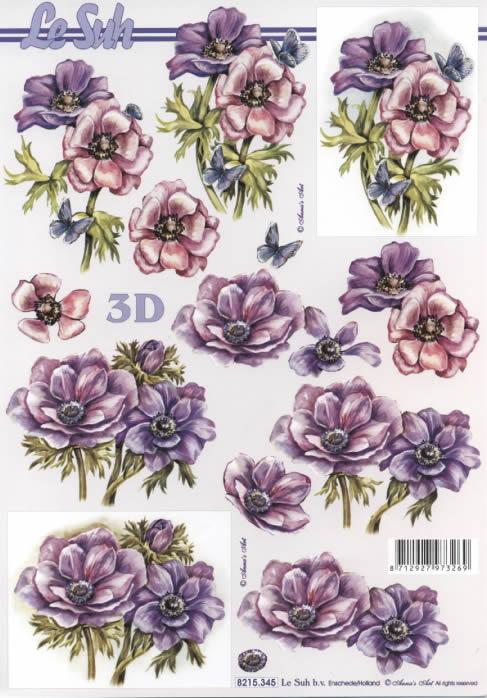 3D Bogen 2x Blumen rosa+lila - Format A4,  Blumen -  Sonstige,  Le Suh,  3D Bogen,  Blumen