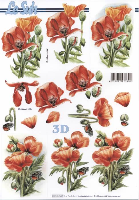 3D Bogen Klatschmohn - Format A4,  Blumen - Mohn,  Le Suh,  Sommer,  3D Bogen,  Mohn