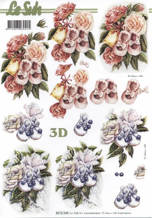 3D Bogen  - Format A4,  Ereignisse - Geburt,  Le Suh,  3D Bogen,  Rosa Babyschuhe und Rosen,  Weiße Rosen und Babyschuhe