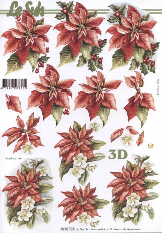 3D Bogen Weihnachtsblum rot - Format A4,  Blumen - Weihnachtsstern,  Le Suh,  3D Bogen,  Weihnachtsstern mit Ilex und Christroden