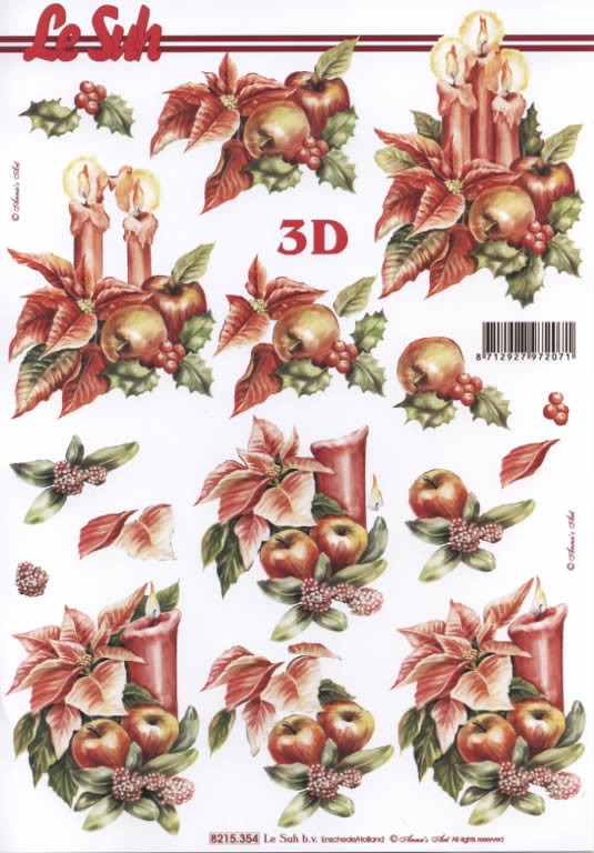 3D Bogen Weihnachtsblum mit Kerze - Format A4,  Weihnachten - Adventskranz,  Le Suh,  3D Bogen,  Weihnachtsgesteck,  Weihnachtskranz mit Kerzen